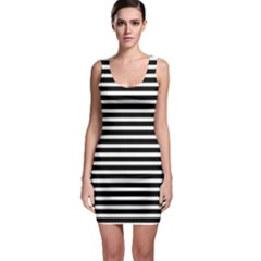 Horizontal Stripes Black Sleeveless Bodycon Dress