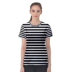 Horizontal Stripes Black Women s Sport Mesh Tee