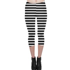 Horizontal Stripes Black Capri Leggings