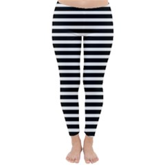Horizontal Stripes Black Classic Winter Leggings