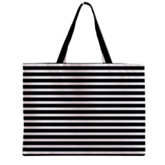 Horizontal Stripes Black Zipper Mini Tote Bag