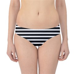 Horizontal Stripes Black Hipster Bikini Bottoms