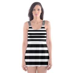 Horizontal Stripes Black Skater Dress Swimsuit