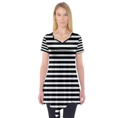 Horizontal Stripes Black Short Sleeve Tunic