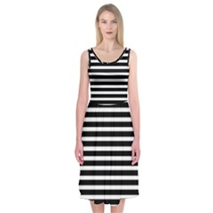 Horizontal Stripes Black Midi Sleeveless Dress