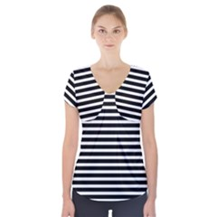 Horizontal Stripes Black Short Sleeve Front Detail Top