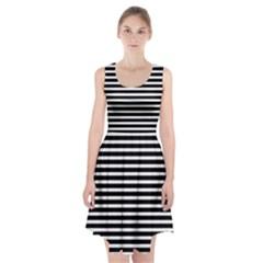 Horizontal Stripes Black Racerback Midi Dress