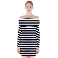 Horizontal Stripes Black Long Sleeve Off Shoulder Dress