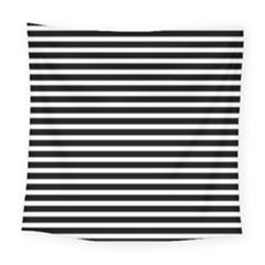 Horizontal Stripes Black Square Tapestry (large)