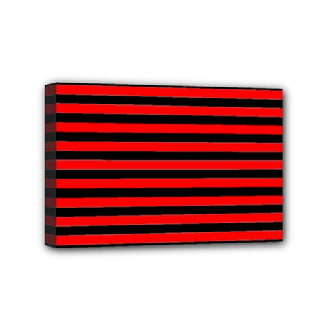 Horizontal Stripes Red Black Mini Canvas 6  X 4
