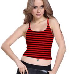 Horizontal Stripes Red Black Spaghetti Strap Bra Top