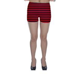 Horizontal Stripes Red Black Skinny Shorts