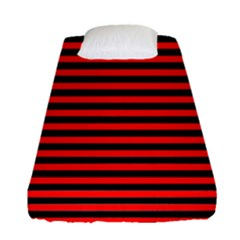 Horizontal Stripes Red Black Fitted Sheet (single Size)