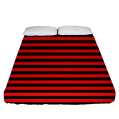 Horizontal Stripes Red Black Fitted Sheet (queen Size)