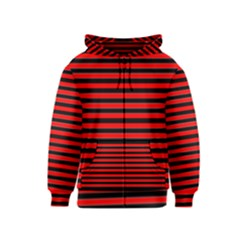 Horizontal Stripes Red Black Kids  Zipper Hoodie
