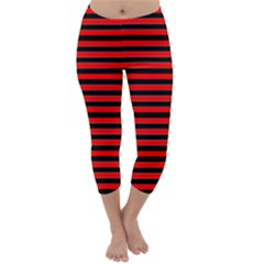 Horizontal Stripes Red Black Capri Winter Leggings