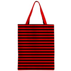 Horizontal Stripes Red Black Zipper Classic Tote Bag