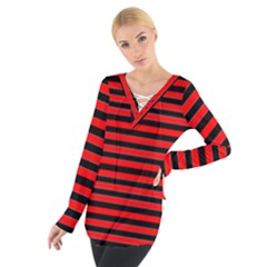 Horizontal Stripes Red Black Women s Tie Up Tee