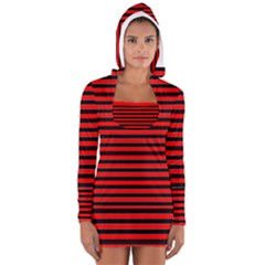 Horizontal Stripes Red Black Women s Long Sleeve Hooded T-shirt
