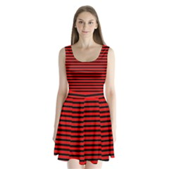 Horizontal Stripes Red Black Split Back Mini Dress