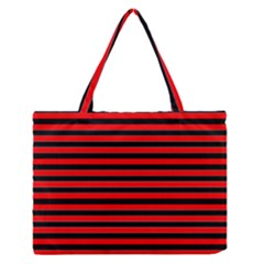 Horizontal Stripes Red Black Medium Zipper Tote Bag