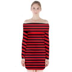 Horizontal Stripes Red Black Long Sleeve Off Shoulder Dress