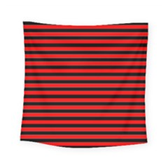 Horizontal Stripes Red Black Square Tapestry (small)