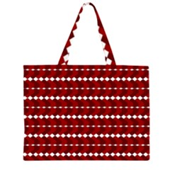Heart Love Pink Red Wave Chevron Valentine Day Large Tote Bag