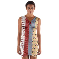 Love Heart Cake Valentine Red Gray Blue Pink Wrap Front Bodycon Dress