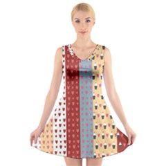 Love Heart Cake Valentine Red Gray Blue Pink V-Neck Sleeveless Skater Dress
