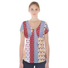 Love Heart Cake Valentine Red Gray Blue Pink Short Sleeve Front Detail Top