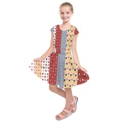 Love Heart Cake Valentine Red Gray Blue Pink Kids  Short Sleeve Dress