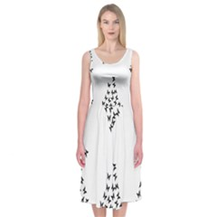 Negative Space Butterflies Black Midi Sleeveless Dress