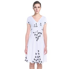 Negative Space Butterflies Black Short Sleeve Front Wrap Dress