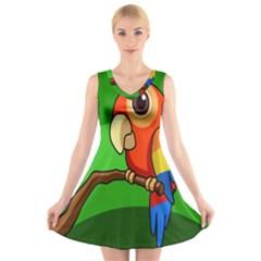 Parrots Pinterest V-Neck Sleeveless Skater Dress
