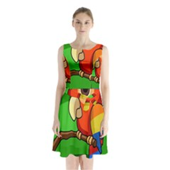 Parrots Pinterest Sleeveless Chiffon Waist Tie Dress