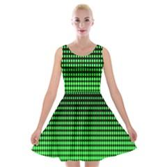 Neon Green Velvet Skater Dress