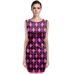 Pink Baby Showers Skull Chevron Wave Pink Purple Black Pink Classic Sleeveless Midi Dress