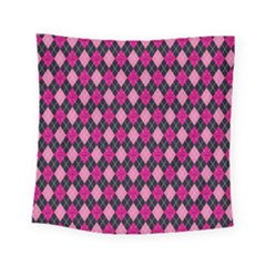 Pink Baby Showers Skull Chevron Wave Pink Purple Black Pink Square Tapestry (small)