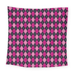 Pink Baby Showers Skull Chevron Wave Pink Purple Black Pink Square Tapestry (large)