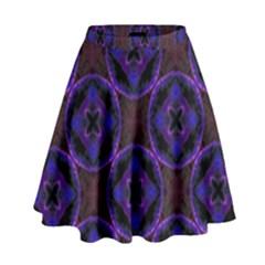 Background Colour Blue Flower High Waist Skirt