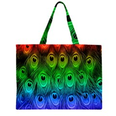 Peacock Feathers Rainbow Large Tote Bag