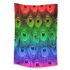Peacock Feathers Rainbow Large Tapestry