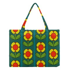 Retro Flowers Floral Rose Medium Tote Bag