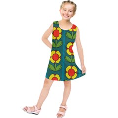 Retro Flowers Floral Rose Kids  Tunic Dress