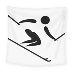 Alpine Skiing Pictogram  Square Tapestry (large)