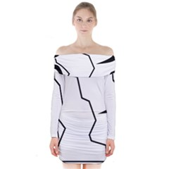 Mountaineering-Climbing Pictogram  Long Sleeve Off Shoulder Dress