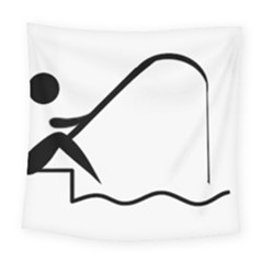 Angling Pictogram Square Tapestry (large)