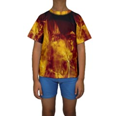 Ablaze Abstract Afire Aflame Blaze Kids  Short Sleeve Swimwear