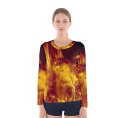Ablaze Abstract Afire Aflame Blaze Women s Long Sleeve Tee